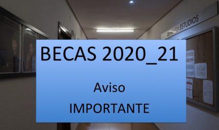 BECAS 2020_21. Aviso IMPORTANTE